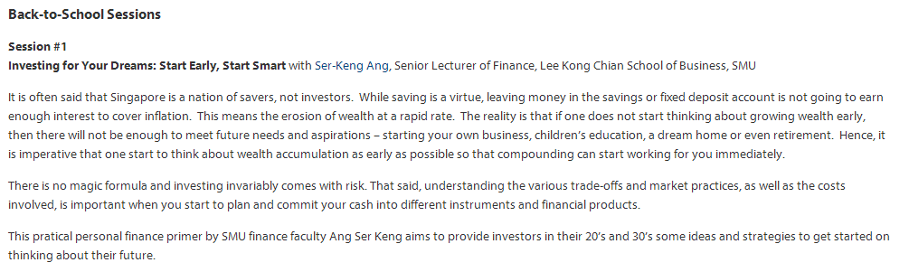 SMU Alumni Event | Investing for your Dreams: Start Early, Start Smart